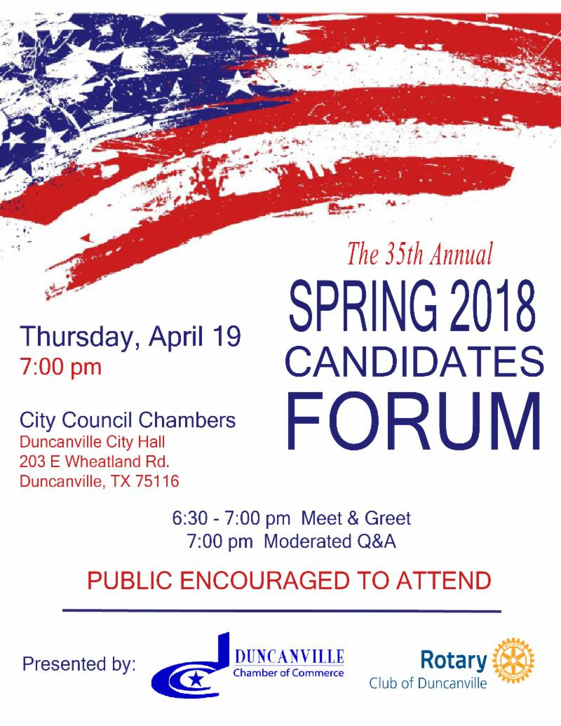 35th Annual Spring 2018 Candidates Forum – Thursday, April 19